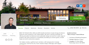 Best of Houzz 2015, Seattle Architect Coates Design.