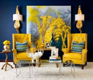 Add fun focal points in mustard yellow, like chairs, pillows or a second hand item.